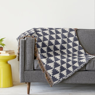 Midnight Blue Modern Aztec Geometric Pattern Throw Blanket