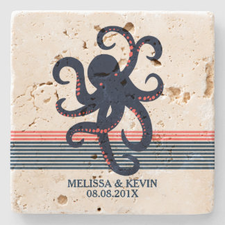 Midnight Blue Octopus & Decorative Stripes Stone Coaster