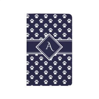 Midnight Blue Paw Print Grid Monogram Notebook Journal