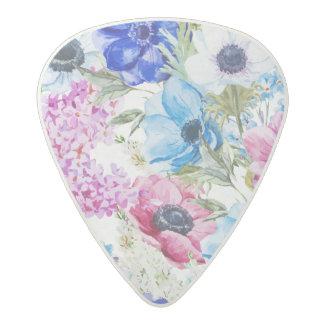 Midnight blue purple watercolor flowers pattern acetal guitar pick