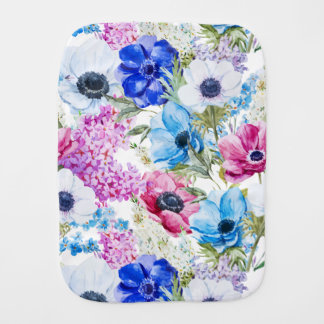 Midnight blue purple watercolor flowers pattern baby burp cloth