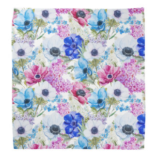 Midnight blue purple watercolor flowers pattern bandana