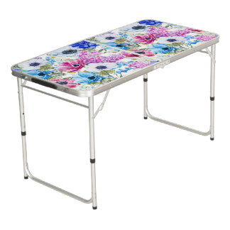Midnight blue purple watercolor flowers pattern beer pong table