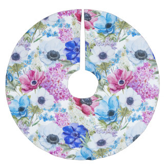 Midnight blue purple watercolor flowers pattern brushed polyester tree skirt