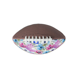 Midnight blue purple watercolor flowers pattern football