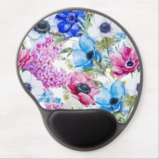 Midnight blue purple watercolor flowers pattern gel mouse pad