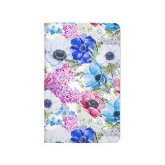 Midnight blue purple watercolor flowers pattern journals