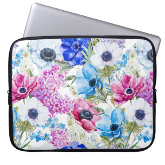 Midnight blue purple watercolor flowers pattern laptop sleeve