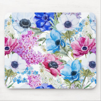 Midnight blue purple watercolor flowers pattern mouse pad