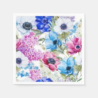 Midnight blue purple watercolor flowers pattern paper napkins
