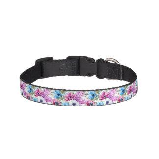 Midnight blue purple watercolor flowers pattern pet collar
