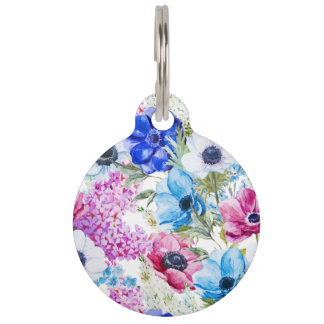 Midnight blue purple watercolor flowers pattern pet ID tags