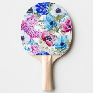 Midnight blue purple watercolor flowers pattern ping pong paddle