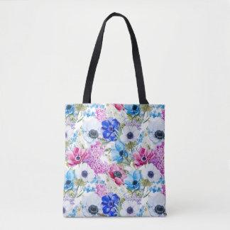 Midnight blue purple watercolor flowers pattern tote bag