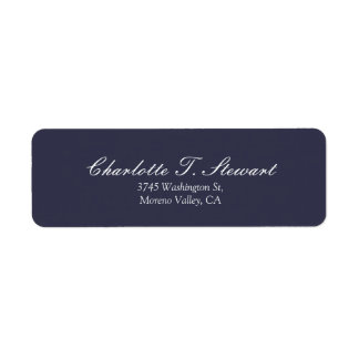 Midnight Blue Script Elegant Minimalist Modern Return Address Label