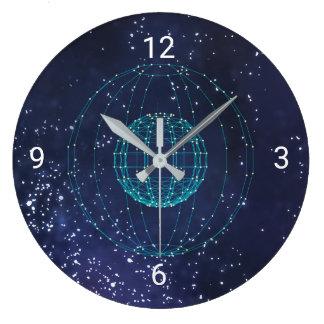 Midnight Blue Sky And Globe Large Clock