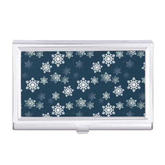 Midnight Blue Snow Flurries Business Card Holders