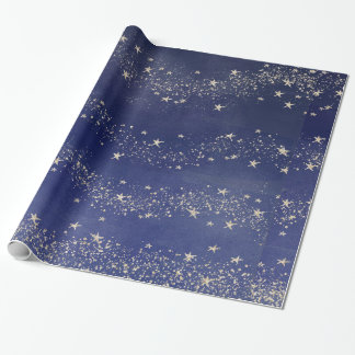 Midnight Blue Starry Night Sky Gift Wrap Paper
