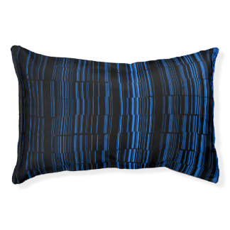 Midnight Blue Striped Pattern Pet Bed