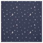 Midnight blue tiny moon and stars pattern fabric