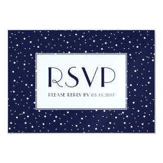 Midnight Blue Winter Snow RSVP Card