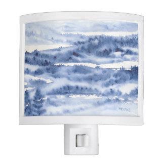 MIdnight Blue Winter Watercolor Night LIght