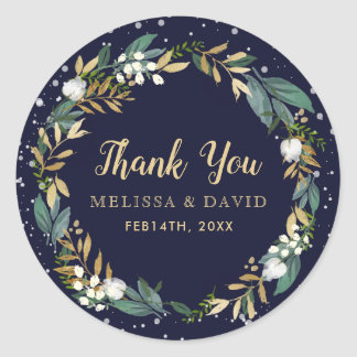 Midnight Blue Winter Wreath Thank You Stickers