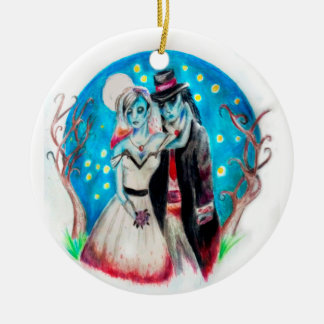 Midnight Blue Zombie Wedding Ceramic Ornament