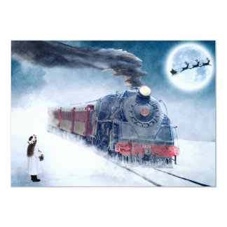 Midnight Christmas Train with Girl and Santa Card
