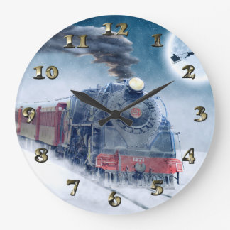 Midnight Christmas Train with Girl and Santa Large Clock