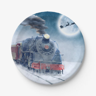 Midnight Christmas Train with Girl and Santa Paper Plate