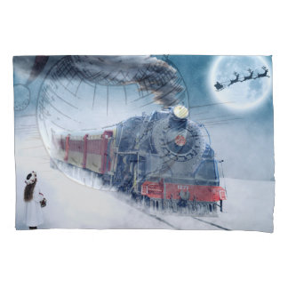 Midnight Christmas Train with Girl and Santa Pillowcase