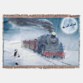 Midnight Christmas Train with Girl and Santa Throw Blanket