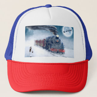 Midnight Christmas Train with Girl and Santa Trucker Hat