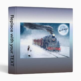 Midnight Christmas Train with Girl and Santa Vinyl Binder