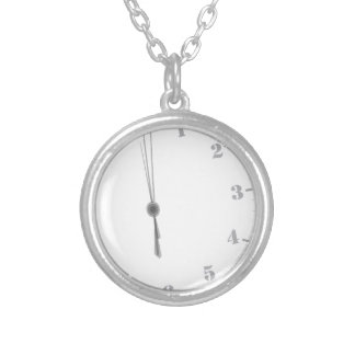 Midnight Clockface Silver Plated Necklace