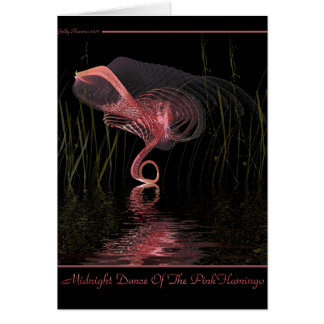 Midnight Dance Of The Pink Flamingo Card