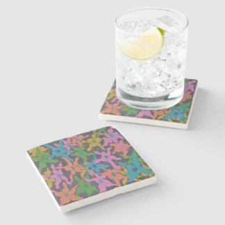 Midnight Floral Bouquet Stone Coaster
