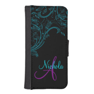 Midnight Floral Fantasy Blue and Purple iPhone5 iPhone SE/5/5s Wallet Case