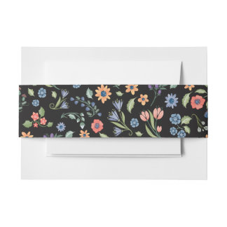 Midnight Floral love Belly Band Invitation Belly Band
