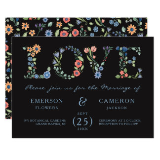 Midnight Floral LOVE Wedding Invitation