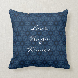 Midnight Flowers Love Hugs Kisses Custom Text G202 Throw Pillow