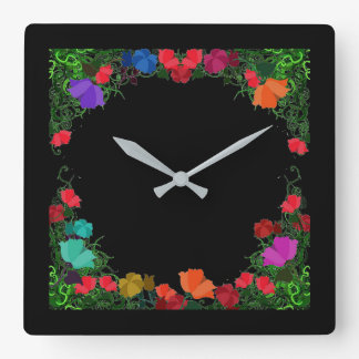 Midnight  Folk Art Wall Clock