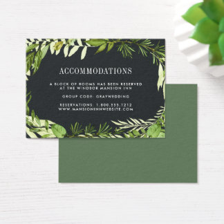 Midnight Garden | Wedding Hotel Accommodation Card
