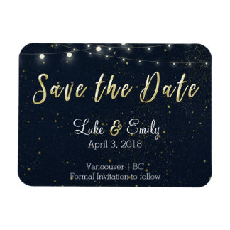 Midnight Glamour Save the Date Rectangular Photo Magnet