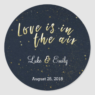 Midnight Glamour Wedding Classic Round Sticker