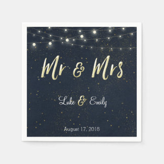 Midnight Glamour Wedding Napkins Paper Napkins
