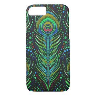 midnight green peacock feathers iphone case