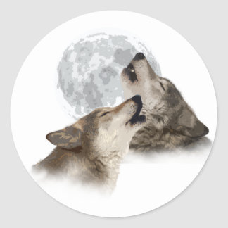 Midnight Howling Classic Round Sticker