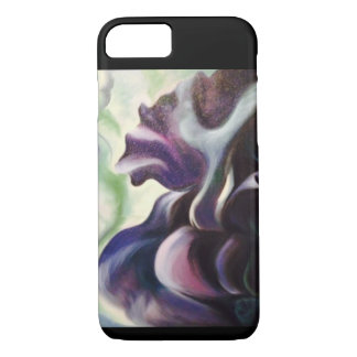 Midnight Iris Abstract Oil Painting iPhone Case